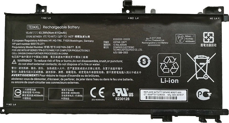 Battery for HP Omen 15-AX207NO laptop